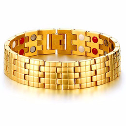 4228054ce Cool 16mm Wide Luxury Men Watch Band Bracelet Gold-Color Stainless Steel  Strap Links Cuff Bangles Jewelry Gift Length 21.5CM
