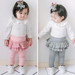 Wholesale Korean Clothing For Children - Spring clothes new baby girls leggings Korean wild sweet open crotch children leggings girls skirt pants for height 60 - 105 cm
