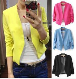 Wholesale korea women jacket - Women's Fashion Korea Candy Color Solid Slim Suit Blazer Coat Jacket WL0008
