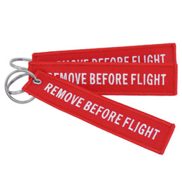 Wholesale Remove Chain - Keychain REMOVE BEFORE FLIGHT Embroidered Canvas Color Optional Woven Keyring Luggage Tag Label Key chain Aviation Gift For Adults Kids