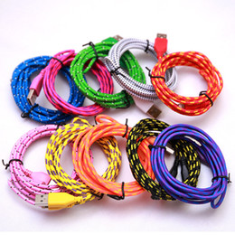 Wholesale Apple Iphone Colors - Braided Cable Data Cord for S5 S6 Charging Cord For Samsung S6 3FT 6FT 10FT 10 Colors