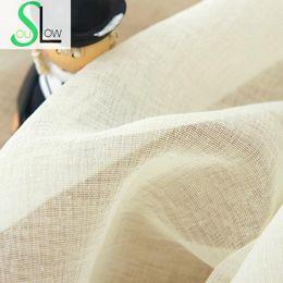 2019 garza di lino Slow Soul Linen Room Window Tenda di garza Tende e tulle moderno Cortina di camera da letto moderna per soggiorno a strisce Sheers Kitchen garza di lino economici