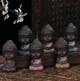 Wholesale statue home decor - Ceramic Tea Pet Little Monk Figurine Buddha Statues Yoga Tea Ceramic Craft Ornament Home Decor EEA445 30pcs