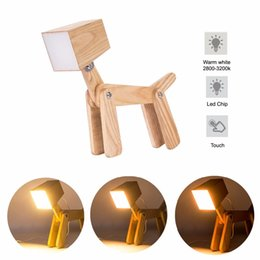 Wholesale Touch Lamps For Kids - Modern Cute Dog Adjustable Wooden Dimmable Beside Desk Table Lamp Touch Sensor with Night Light for Bedroom Office Kids(Warm whi