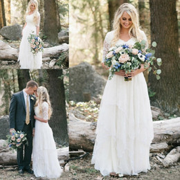 Wholesale Forest Sleeves - Cheap Western Country Bohemian Wedding Dresses Lace Modest V Neck Half Sleeves Long Bridal Gowns Plus Size Garden Forest