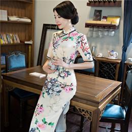 2019 голубой хлопок абая 2018 Шелковый cheongsam цветочные qipao китайский традиционное платье женская атласная cheongsam qipao с длинным рукавом длинное платье цветок печати
