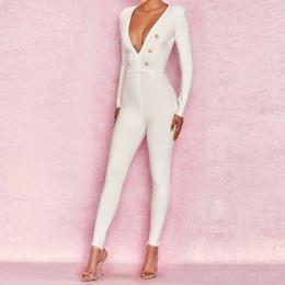 25a0fba7bc4 Nova Moda Magro Sexy Mulheres Bandage Jumpsuit Botão Branco Comprimento  Total Evening Club Party Bodysuit Macacão Calças Lápis