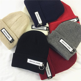 Wholesale Hat Boxes Wholesale - 2018 ins letter wool caps men and women ring knit hat autumn and winter Korean hedging hats snapbacks
