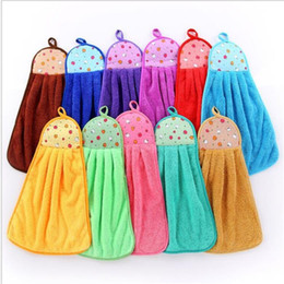 Wholesale Absorbent Dish Towels - 32*46cm Coral Velvet Fleece Hanging Type Towel 11 Colors Absorbent Hand Dry Towels Dish Cloth for Kitchen