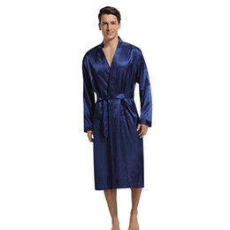 9f98758210d2 China Navy Blue Men Kimono Nightwear Satin Robe Pyjamas Room Home Clothes  Bathrobe Long Sleeve Satin