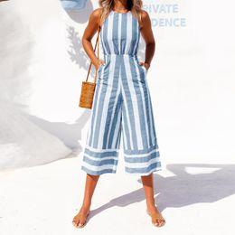 56c5fff1cc3d 2018 Summer Wide Leg Pants Women Jumpsuit Sleeveless Palazzo Bodysuit  Halter Hollow Striped Rompers Overalls Playsuit Plus Size
