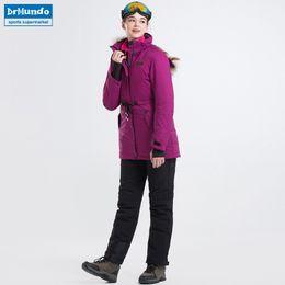 2018 New Women Ski-wear Skiing Jackets And Pants Snowboard sets Thick Warm  Waterproof Windproof Winter female Ski suit b79dbfe4e