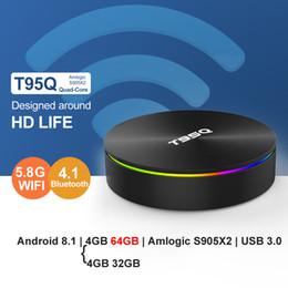 Gigabit a doppia banda online-T95Q 4GB RAM 64GB ROM Android 8.1 Smart TV Box Amlogic S905X2 Quad Core Bluetooth 2.4G / 5.8G Dual Band Wifi Gigabit 4K Set Top Box