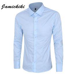 Wholesale Preppy Clothes Men - 6 Colors Mens Dress Shirts 2016 Fashion Brand Men Clothes Slim Fit Mens Long Sleeve Chemise Homme Blank Cotton Casual Camisa 5XL