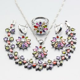 Wholesale gold multicolor rings - Manny Multicolor Zircon 4PCS Earrings Pendant Necklace Bracelet Ring 925 Silver Party Flower Jewelry Sets Free Gift Box W299