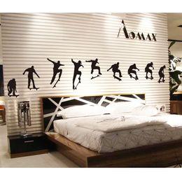 paredes de papel tapiz fresco Rebajas Patineta Deportes Pegatinas de Pared Snowboard Boys Cool Man Art Murales Tatuajes de Pared Pegatina Wallpaper Negro Para la Sala de estar Dormitorio Decoración para el hogar