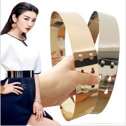 Wholesale finish standards - Hot Women Gold and silver shinny mirror like belts Full Metal Plate Ring like Corset belt quality finish wedding belt bg-032