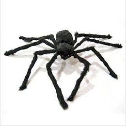 2019 gummi witze Riesenspinne Halloween Dekoration schwarze Spinne Spinnen-Halloween-Dekoration Spukhaus Prop Black 3 Größe Geschenk