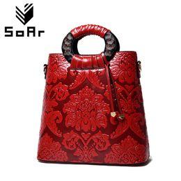 bolsos de la marca china Rebajas SOAr Chinese Style Style mujeres bolsos de hombro bolso de cuero Vintage grandes marcas famosas bolsos florales venta caliente de alta calidad