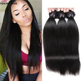 лучшие девственные наращивания волос Скидка Ishow человеческих волос бразильский малайзийский девственные волосы прямые 4 пучки 10A лучшие человеческие волосы перуанский прямые пучки Бесплатная доставка