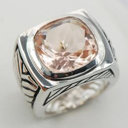 Wholesale Morganite Ring Silver Setting - Morganite Silver Gemstone Ring Size 6 7 8 9 10 F910