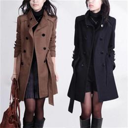 pechos grandes mujeres Rebajas Chaqueta de lana abrigo de lana femenino nuevo otoño e invierno temperamento de doble botonadura mujeres abrigo de lana de gran tamaño mujeres