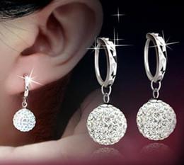12 mm earring Canada - 925 sterling silver items Shambhala hoop earring jewelry 10 12 mm ball wedding vintage hot charms