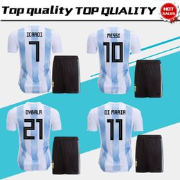 Wholesale Men White Suit Shirts - 2018 world cup Argentina home Soccer Jersey suit 2018 Argentina soccer shirt kit #10 MESSI #7 ICARDI Football uniforms jersey+shorts