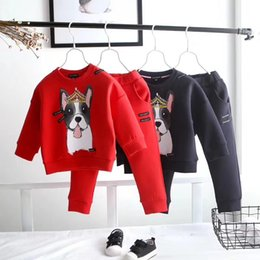 Wholesale Boys 3t Sweater - Baby Boys Girls Fashion Sport Suit Kids dog Clothes Children's Sweater + Trousers two pieces Clothing Set Cotton Jerseys