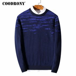 Wholesale Merino Wool Cashmere - COODRONY Top Quality Men Sweater Winter Thick Warm Cashmere Pullover Men Pure Merino Wool Sweaters Casual O-Neck Pull Homme 7339