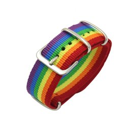 2019 correa de reloj de manzana 42mm Para iwatch Sport Woven Nylon strap Para Apple Watch Band 42mm 38mm iwatch series 3/2/1 Rainbow Muñequeras Pulsera Correa de correa sty121 correa de reloj de manzana 42mm baratos