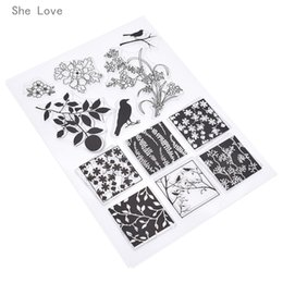 2019 décorations de fabrication de cartes Timbres Elle Aime Carré En Silicone Oiseau Clair Timbre Pour Scrapbooking Album DIY Cartes Making Making Décoration Tampon En Caoutchouc Transparent promotion décorations de fabrication de cartes