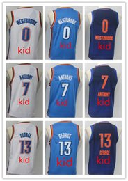 Wholesale george shirts - 2018 New Youth Kid's Shirt 0# Russell Westbrook 13 Paul George Basketball Jersey 7#Carmelo Anthony kid Jerseys Free Shipping Wholesale