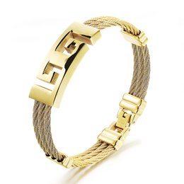 Wholesale gothic leather jewelry - Men Stainless Steel Jewelry Bangles Bracelets Punk Gothic Cross Cubic Zirconia Leather Cuff Bracelet Luxury Charm Bangle Gifts Jewellery