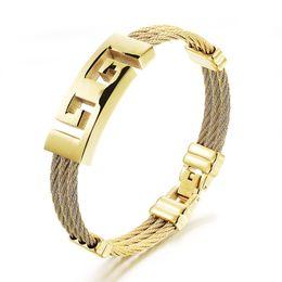 Wholesale crosses jewellery - Men Stainless Steel Jewelry Bangles Bracelets Punk Gothic Cross Cubic Zirconia Leather Cuff Bracelet Luxury Charm Bangle Gifts Jewellery