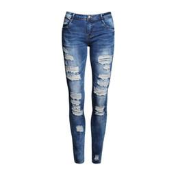 Wholesale Purple Ladies Jeans - Wholesale- Boyfriend Jeans Women Pencil Pants Trousers Ladies Casual Stretch Skinny Jeans Female Mid Waist Elastic Holes Pant Fashion 2016