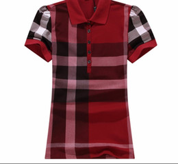 Wholesale girls plaid tops - Tshirts Women Lady Girls Summer Casual Fashion Plaid Printed Short Sleeve Cotton Sports Polo T-Shirt Tops Blouses Woman Clothes T Shirts