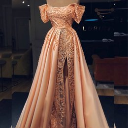 5d0f882b93 Amazing Dubai Celebrity Evening Dress Beads Lace Appliques Off Shoulder  Short Sleeve Prom Dress Sexy Split Mermaid Prom Dress With Overskirt