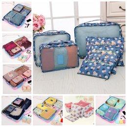 Wholesale Bras Travel Box - 6pcs set Travel organizer portable box waterproof clothes organizer storage box underwear bra makeup cosmetic cloth storage bag KKA3782