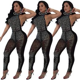комбинезоны комбинезоны без спинки Скидка Горный хрусталь женщины комбинезоны блеск спинки комбинезон Холтер рукавов тощий комбинезоны дизайнер женская одежда bling bling сексуальная клубная одежда