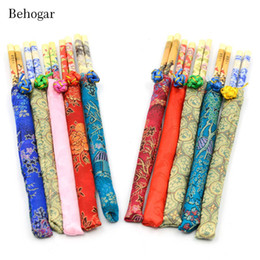 Wholesale Decorative Bamboo - Behogar 5 Pairs Bamboo Chinese Style Decorative Pattern Baguette Chinoise Chopstick chop sticks w  Cloth Pack Tableware Gift Set