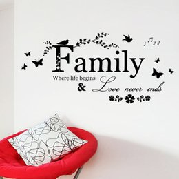 Wholesale Family Wall Quotes Large - Family Love Never Ends Quote vinyl Wall Decal Wall Lettering Art Words Wall Sticker Home Decor Wedding Decoration