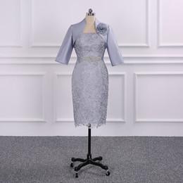 Wholesale Evening Dress Jacket Taffeta - Mother of the Bride Dresses 2018 Knee Length Mother Dress 3 4 Sleeve Lace Beads Jacket Evening Gown Vestido Madre Novia Prom