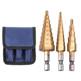 Conjuntos de madeira on-line-3 pcs aço HSS Titanium passo brocas Set passo Cone ferramentas de corte brocas de madeira de madeira para madeira de Metal perfuração Bits Set