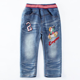 Wholesale Woolen Clothes Design - boys jeans printed pattern brand kids wear fashion trousers for baby boys children clothing new design baby pants