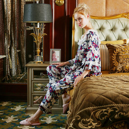9763681a1e Pajamas Woman 2018 New Lace Fashion Print Home Suit Women s Two Pics Pyjama Pant  Set Nightwear Nightdress Indoor Cloth Sleepwear