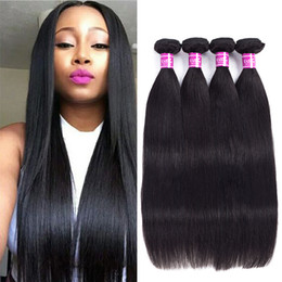 Wholesale r 16 - Ushine Straight Virgin Hair Bundles 100% Unprocessed Peruvian Brazilian Human Hair Weave Extensions Natural Color Tangle Free r