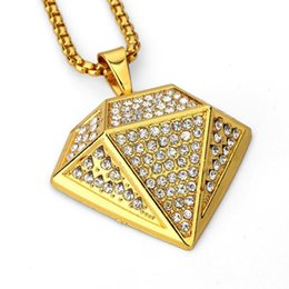 Wholesale Red Rhombus - 2018 Pendant Necklace Imitation Shape CZ Stone Rhinestone Crystal Rhombus Shape Charm Fashion Jewelry Hip Hop Men Women Gifts