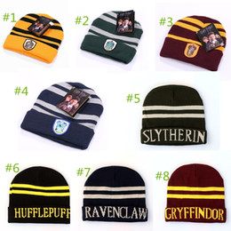 50pcs DHL free shiping Harry Potter Hogwarts Beanie Hat Gryffindor  Slytherin Hufflepuff Ravenclaw Cap School Striped Badge Hats 8 styles 2e0b8702feef
