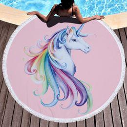 Wholesale 3d Tapestry - 16 Design Round Unicorn Bath Towel 150cm 3D Digital Printed Unicorn Towel Beach Tapestry Hippie Throw Yoga Mat Home Carpets
